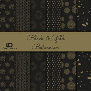 Uebersicht Bastelpapier Black and Gold Bohemian