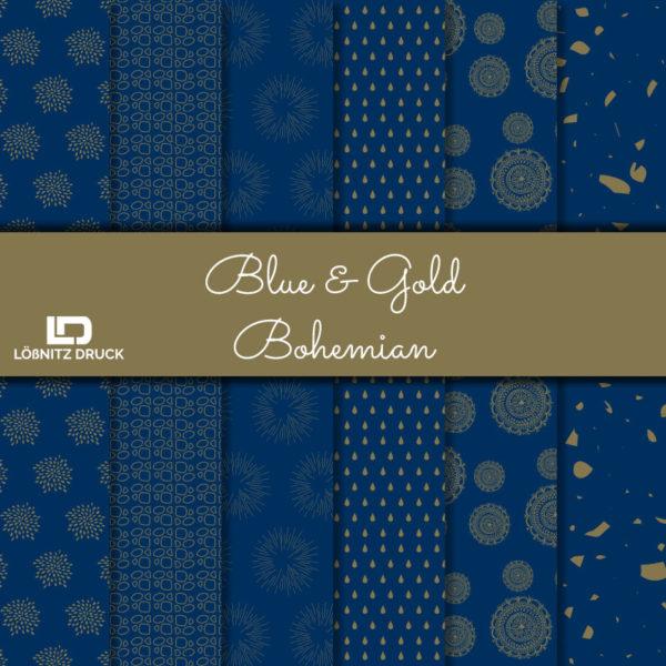 Uebersicht Bastelpapier Blue and Gold Bohemian
