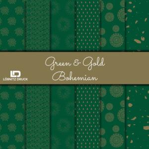 Uebersicht Bastelpapier Green and Gold Bohemian