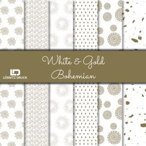 Uebersicht Bastelpapier White and Gold Bohemian