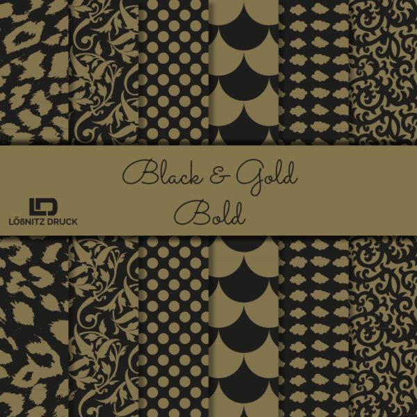 Uebersicht Bastelpapier Black and Gold Bold