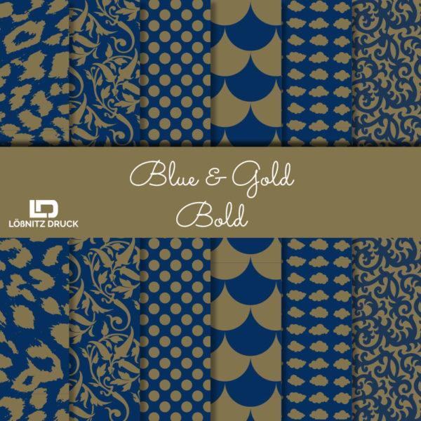 Uebersicht Bastelpapier Blue and Gold Bold