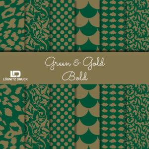 Uebersicht Bastelpapier Green and Gold Bold