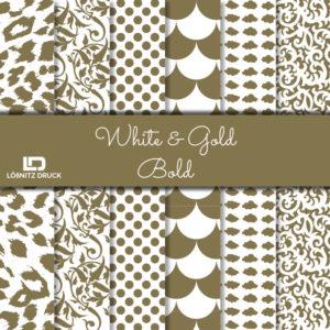 Uebersicht Bastelpapier White and Gold Bold