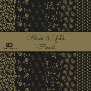 Uebersicht Bastelpapier Black and Gold Floral