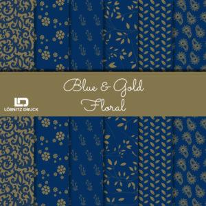Uebersicht Bastelpapier Blue and Gold Floral