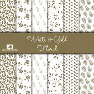 Uebersicht Bastelpapier White and Gold Floral