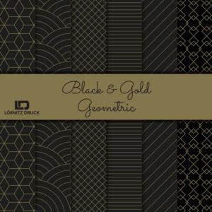 Uebersicht Bastelpapier Black and Gold Geometric