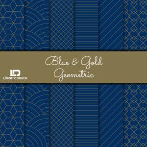Uebersicht Bastelpapier Blue and Gold Geometric