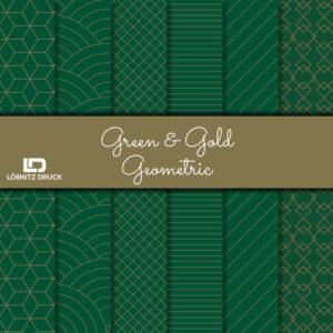 Uebersicht Bastelpapier Green and Gold Geometric