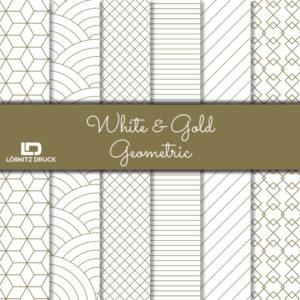 Uebersicht Bastelpapier White and Gold Geometric