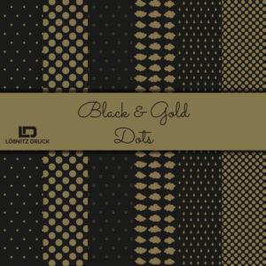 Uebersicht Bastelpapier Black and Gold Dots