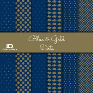 Uebersicht Bastelpapier Blue and Gold Dots