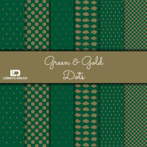 Uebersicht Bastelpapier Green and Gold Dots