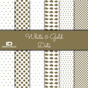 Uebersicht Bastelpapier White and Gold Dots