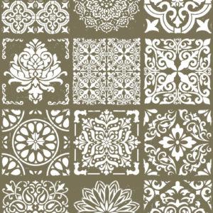 Fliesenaufkleber Wandaufkleber selbstklebend mit Ornamenten 12er Set verschiedene Größen und Farben